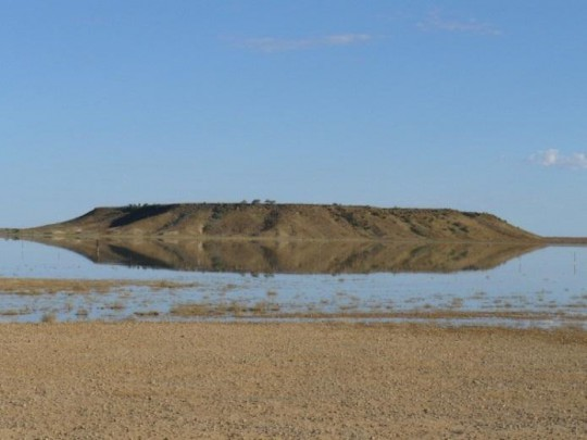 A rare sight, water surrounding Beresford Hill, May 2012