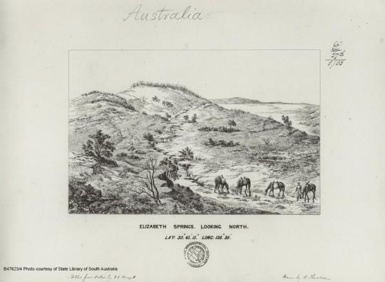 Elizabeth Springs. Artwork by N Chevalier, 1868, based on sketches by JAFD Herrgott during the 1859 Stuart expedition