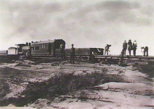 A Worktrain at 579 mile Bridge, 3 miles south of Anna Creek on the Great Northern Line. Driver: H.Simpson; Fireman: M.Kittel