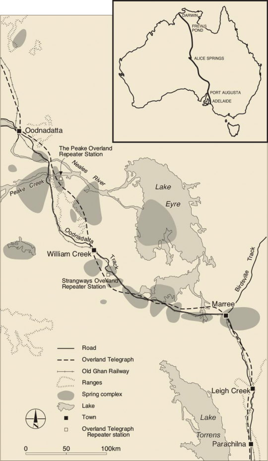 Map of Overland Telegraph Line