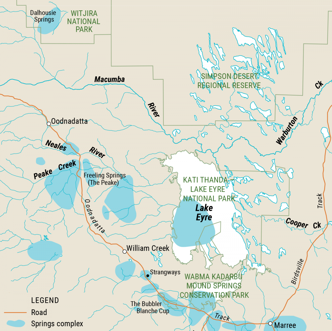 Map of South Australia's Far North Mound Springs